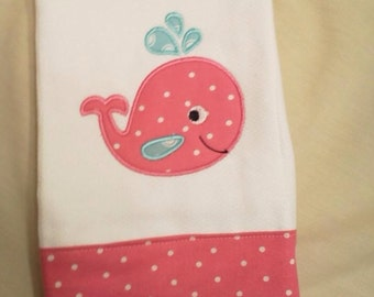Embroidered Personalized Pink Whale Baby Burp Cloth