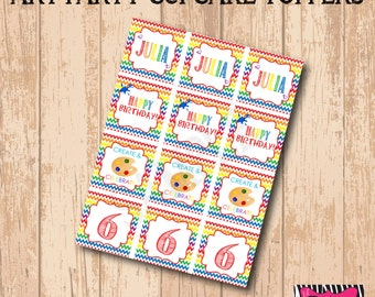 DIY Printable Art Party Cupcake Toppers