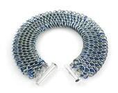 Iridescent Chain Mail Cuff Bracelet