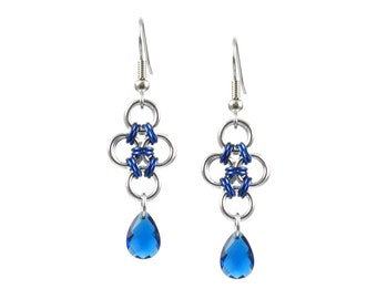 Blue Diamond Crystal Earrings