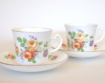 Vintage Teacup and Saucer Set of 2 - Colclough Fine China Tea cup and Saucer Floral with Yellow Roses - Set of 2 Circa 1940's  England