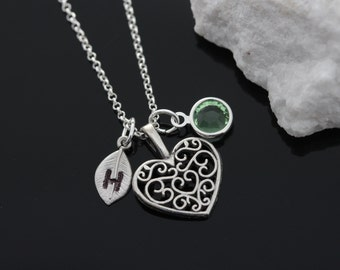 Heart Necklace With Initial And Birthstone, Sterling Silver Heart, Detailed Heart, Personalized Heart