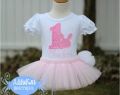 PERSONALIZED Easter Bunny Birthday Tutu Outfit with Fluffy Tail