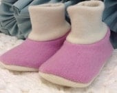 RESERVED LISTING 0-6 Months - Interlock Wool Baby Booties - Soft Sole Shoe - Baby Shoes - Wool Boots- GoneEco