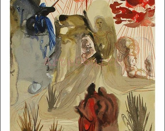 "Dali Woodcut ""Purgatory 28 - Divine forest"" suite Divine Comedy"