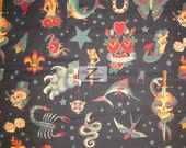 """100% Cotton Fabric By Alexander Henry - Tattoo Black - Sold By The Yard  - 45"""" Width (FH-93)"""