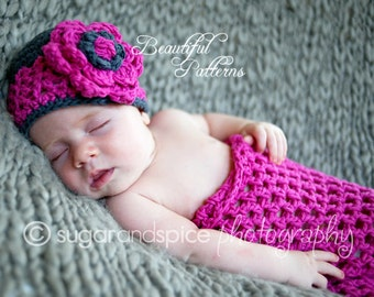 Crochet Hat PATTERN Cocoon Photo Prop Set Newborn Baby Cocoon Pod Hat Pattern PDF 410 Instant Download