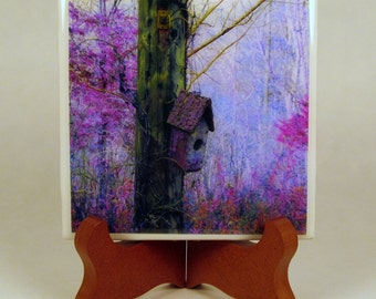 Rusty Bird House Handmade Photo Coaster, FI0022