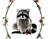 Happy Raccoon Art Print with Decorative Border