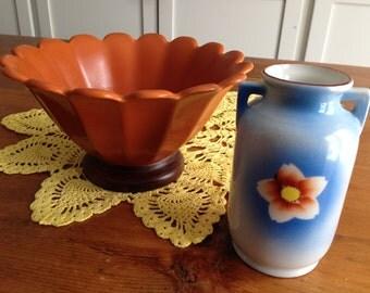 Vintage Orange Sunflower Bowl with Matching Japan Ceramic Bud Vase