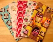 Owl Burp Cloths - Assorted Girl Colors