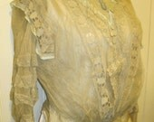 RESERVED fot Liza-- Antique cream lace 1890s bodice with back closures and blue trim