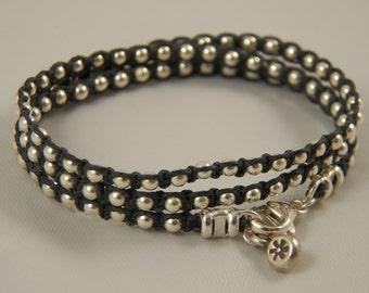 "PICK Your COLOR Sterling Silver Wrap Bracelet ""Silver Lining"" TRIPLE Wrap Bracelet Irish Linen Cord Sterling Silver Beaded Linen Bracelet"