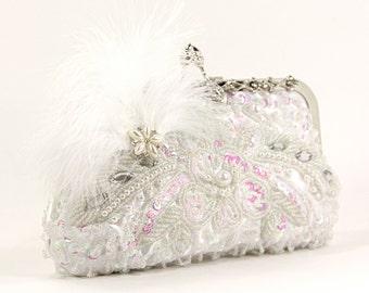 Vintage Bridal Clutch - Gorgeous white beaded wedding purse, Evening Bag, White Purse, Beaded Clutch, Vintage Purse, Vintage Clutch
