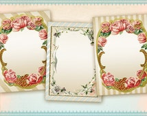 Digital collage sheet Printable greeting cards Gift tags Jewelry holders Vintage paper goods Journaling - FLOWER FRAMES