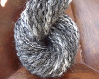 Handspun Yarn Art-Natural Color-Bulky-Charcoal Gray Alpaca/Opal Angora-Plied with Black Thread-2-Ply-124 Yards-3.55 oz