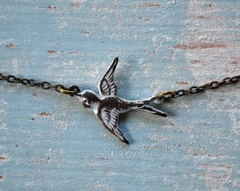 Antiqued bird. White washed bronze bird necklace, bird in flight necklace, linked bird necklace, bird necklace, gift