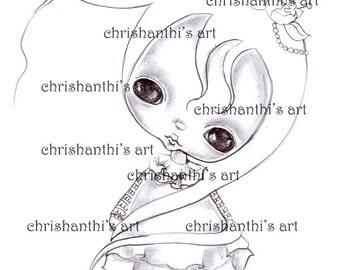 INSTANT DOWNLOAD Digital Digi Stamps..by Chrishanthi's art..Flying Gigi''