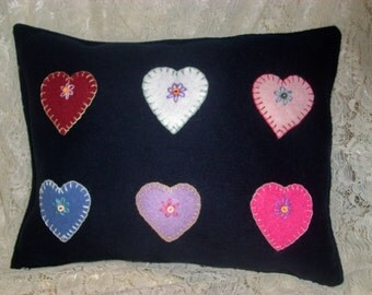WOOL PILLOW Navy Blue With Handmade Embroidered Hearts, Country Decor, Cottage Chic, Home Decor, Collage Dorm,Love
