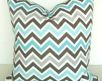 PILLOW Cover  MINT GREEN 18x18 Chevron Decorative Throw Pillows Aqua Turquoise 18 x 18  Brown Gray Throw pillow covers