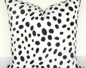 BLACK THROW PILLOWS Animal Print Decorative Pillow Covers  Black and White Pillow Covers 16 18 20x20 Polka Dot pillow Dalmation black Pillow