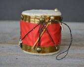 1940's Vintage Drum Pincushion/ Patriotic/ Red,White,Blue/ Americana/ Folk Art