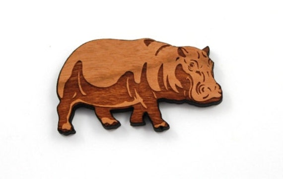 Laser Cut Supplies-1 Piece.Hippopotamus Charms - Cherry Wood Laser Cut Hippo -Brooch Supplies- Little Laser Lab Sustainable Wood Products