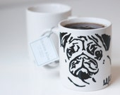 hand illustrated ceramic pug mug by Chelsie Alice