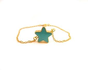 Aqua Star Bracelet, Dainty Star Bracelet, Turquoise Tiny star Jewelry, Double Sided Star Jewelry, Bridesmaid Bracelet, Dainty Gold Bracelet