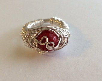 Red Stone Wire Wrapped Ring