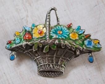 ART-DECO Silver Enamel Flower Basket Brooch Pin