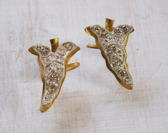 Vintage 1930s Ivy Leaf Diamante and Brass screw in clip on Earrings