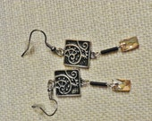 Antique finish Art nouveau design dangle earrings