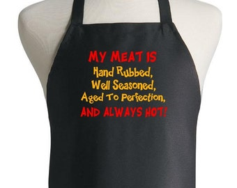 Funny Barbecue Aprons My Meat Is Always HOT Black Apron