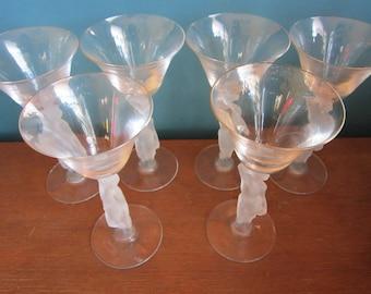 6  Bacchus Nude Male Cordial/Aperatif Glasses Greek god of wine Dionysos Bayel france Vintage frosted
