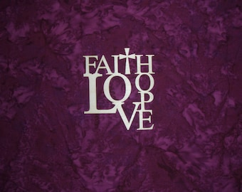 """Faith Hope Love Wood Cut Out Unfinished 3.5"""" wide X 4"""" tall"""