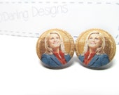 Parks and Recreation Leslie Knope Fabric Button Earrings