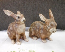 Vintage Pair Of Bunnies Life LIke Ceramic Mold Hand Painted Easter Spring Decoration Baby Rabbit Collectible
