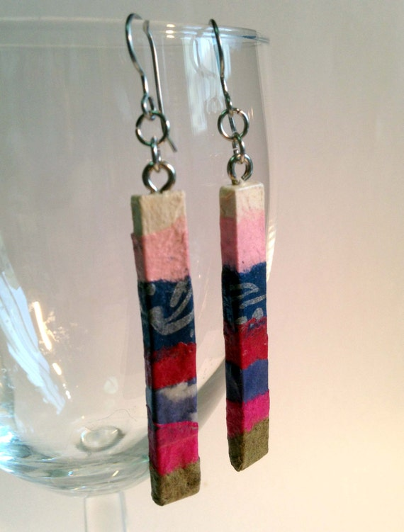 Delicate Pink Patchwork Hanji Paper Dangle Earrings OOAK Handmade Striped Hypoallergenic hooks Lightweight