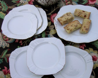 Six Tea Plates and Cake Plate Set, White