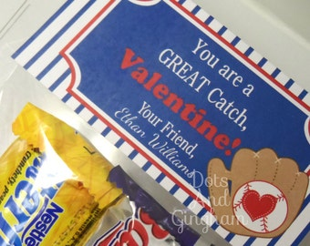 Valentine Treat Bag Topper-Valentine Boy Treat Bag Topper-Printable Kids Valentine-Baseball Treat Bag Topper-Printable Valentine Baseball
