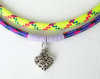 NEON yellow and purple nautical sailing rope necklace, light violet waxed cord, tribal heart pendant, magnet clasp