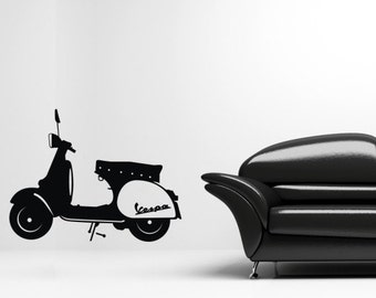 Vespa scooter vinyl wall decal, motorbike sticker