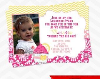 Pink Lemonade Cupcake Invitation