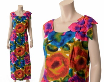 Vintage 60s Hawaiian Floral Maxi Dress 1960s Avant Garde Bow Shoulder Flower Power Dress Luau Wedding LVL Boho Hippie Dress / Medium