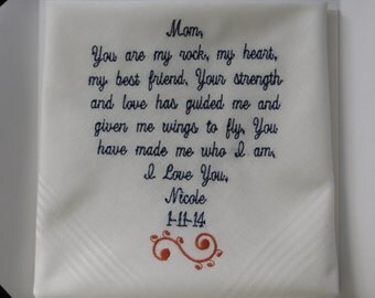 40 words of your choice. Embroidered Wedding handkerchief Mother of the Bride gift. Free Gift Box with each handkerchief that you order.