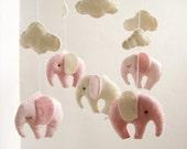 Baby Crib Mobile Elephant Gentel Decor New Born Pink Ivory