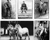 Set of 5 Black / White postcards Cowboys and Cowgirls and ponies and horses