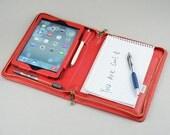 Red iPad Mini Portfolio with notepad holder iPad Purse case for Pad Mini and iPad mini 4 Business Portfolio with Notepad