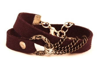 Purple Wrap Bracelet With Vegan Leather and Chain